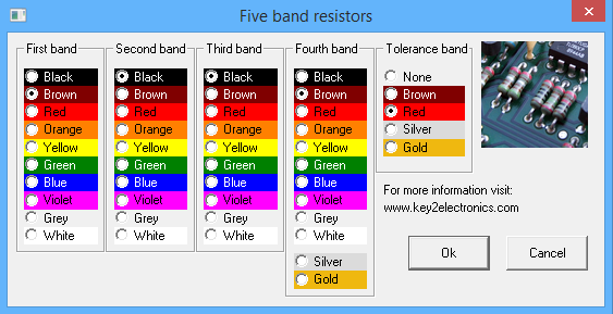 Resistor colour code application