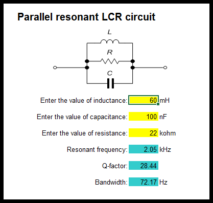 Spreadsheet model for an LCR circuit